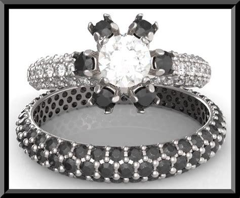 Black And White Diamond Wedding Ring Set