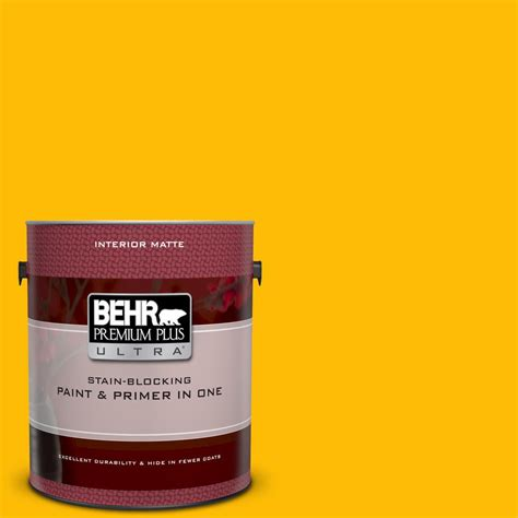 behr premium plus ultra 1 gal 340b 7 empire yellow matte interior paint and primer in one