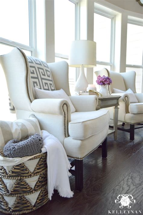 And White Chairs Living Room by Cool Tone Ready Living Room Tour Kelley Nan
