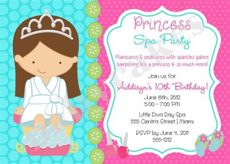 princess spa party invitation princess spa day princess