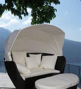 nicht alltagliche garten liege mit sonnendach und bank ebay With französischer balkon mit design liege garten