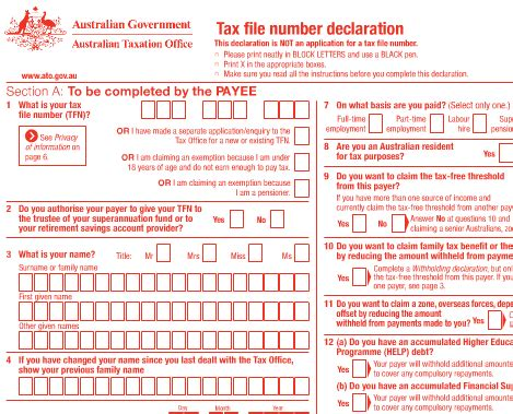 ato tfn application form australie dossier le tax file number tfn