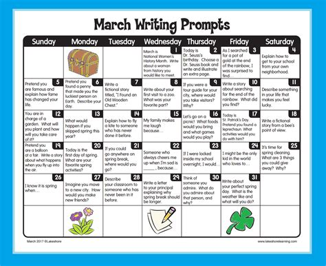 march writing prompts from lakeshore learning writing practice writing prompts