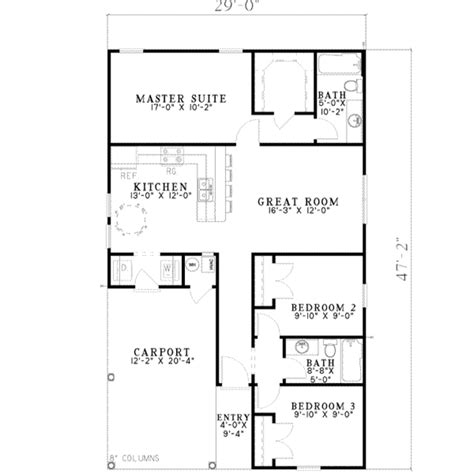 floor plans for ranch style houses traditional style house plan 3 beds 2 00 baths 1070 sq