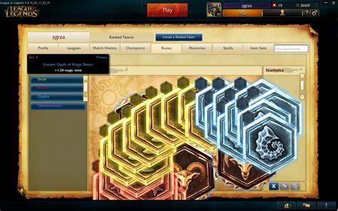 match history  champion list rune page