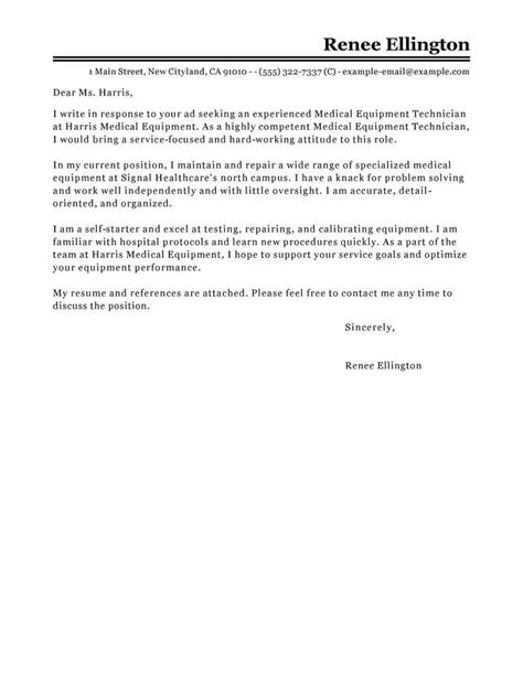 Best Medical Equipment Technician Cover Letter Examples