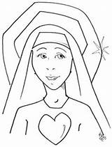 Coloring Nun Catholic Para Colorear Mary Crafts Heart Classroom Dibujo Jesus Saints Religious Activities Education Sheets Lady 312px 77kb Sketch sketch template