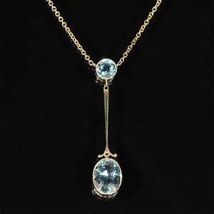 Antique Edwardian Aquamarine & Gold Lavalier Pendant Necklace