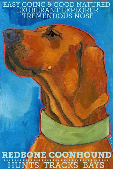 coonhound   redbone  magnet  original oil