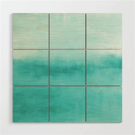 Print and put in a frame to decorate your walls. Teal Ombre Wood Wall Art by hlbhomedesigns   Society6