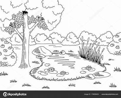 Pond Lake Landscape Clipart Lago Sketch Graphic