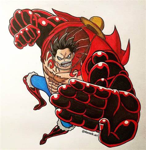 With incredible speed combined with ferocious power. Luffy Gear 4 - Fanart 👒 | One Piece💀 Amino
