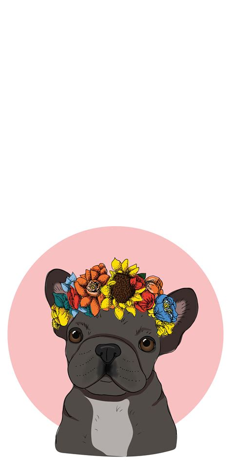 french bulldog  floral crown casetify iphone