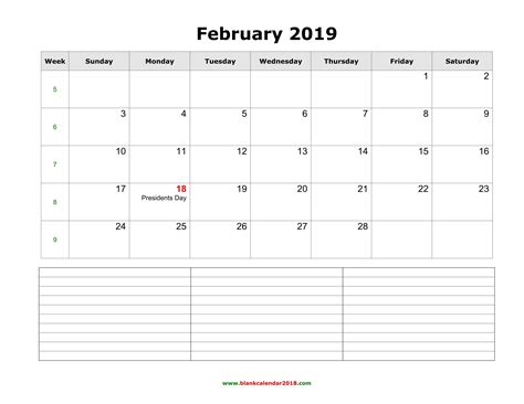 blank calendar february