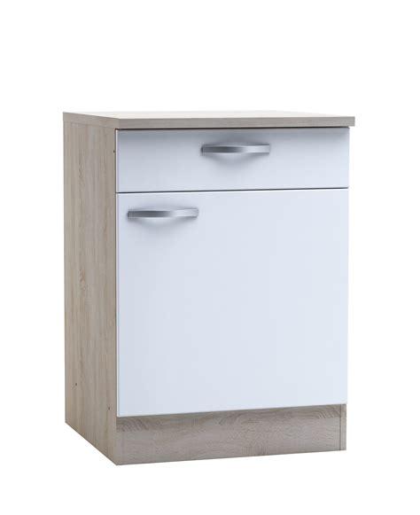 d馗or de cuisine meuble bas de cuisine contemporain 1 porte 1 tiroir chêne brossé blanc mat thiva meuble de cuisine cuisine