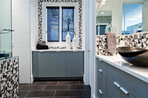 Modern Bathroom Grey And White by Modern Minimal Black White And Grey Tile Bath