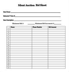 printable silent auction template silent auction