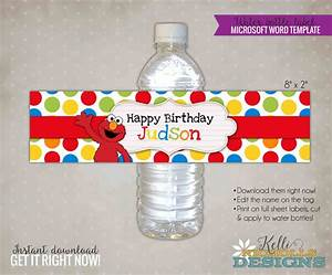 custom elmo water bottle label template sesame street With personalized water bottle label template
