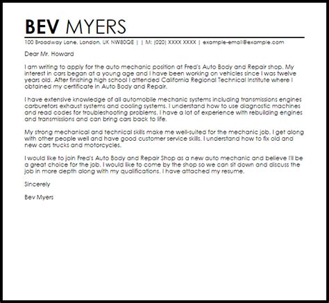 Cover Letter For A Mechanic by Mechanic Sle Cover Letter Cover Letter Templates
