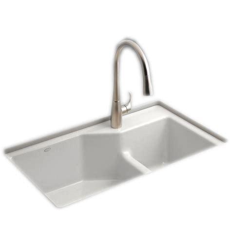 white kitchen sink faucet kohler indio smart divide undermount cast iron 33 in 1