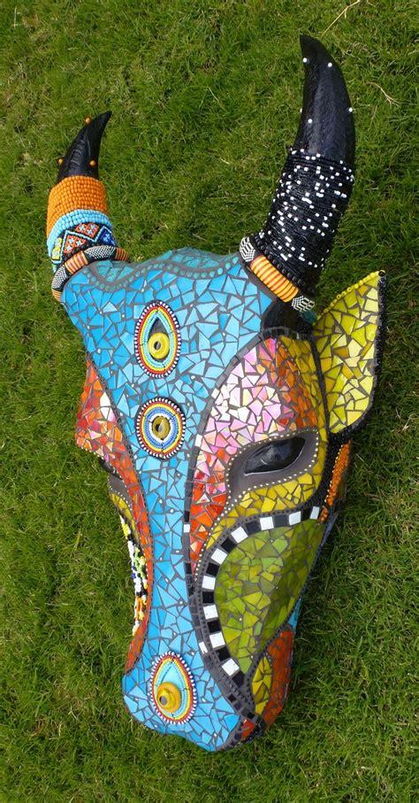 nguni head  born trophy heads mosaic pinterest