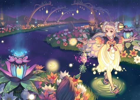 Anime Flower Wallpaper - flowers yellow anime rivers flower wall anime