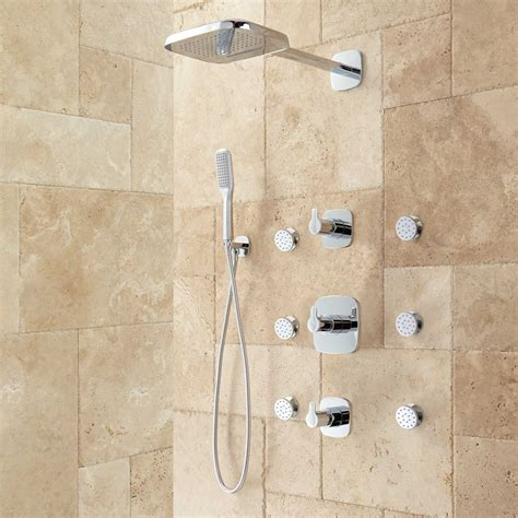 grohe bathroom faucets brushed nickel arin thermostatic shower system with shower 6