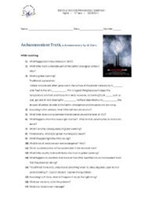 English Teaching Worksheets An Inconvenient Truth