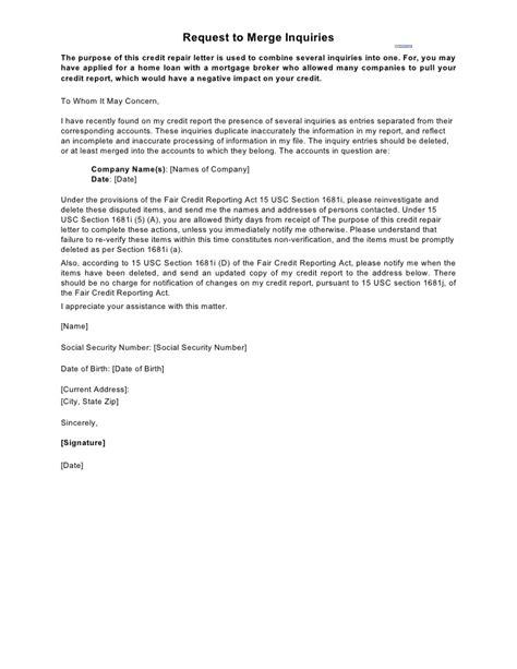 sample letter request  merge inquiries