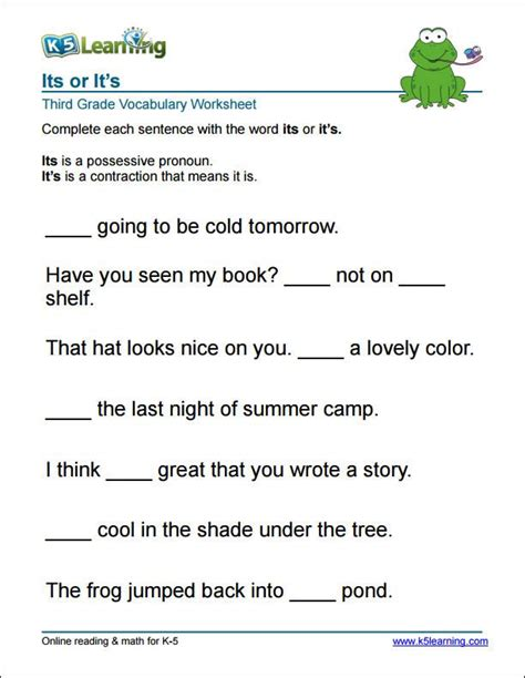 3rd grade it s or its worksheet project1 vocabulary