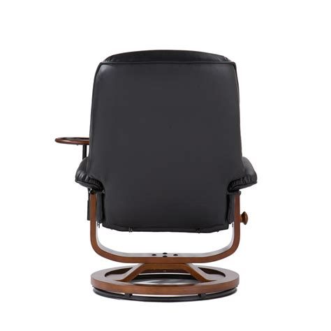 leather recliner w attached side table ottoman in black