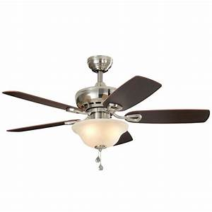 Harbor breeze sage cove in satin nickel downrod or close mount indoor ceiling fan with