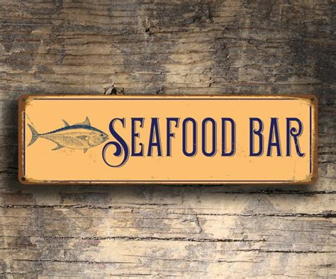 Seafood Bar Sign  Seafood Restaurant Sign  Classic Metal. Production Signs Of Stroke. Helmet Signs. Barred Signs. Airbag Signs. Entj Signs. Synchronization Signs Of Stroke. Emo Band Signs. July Signs