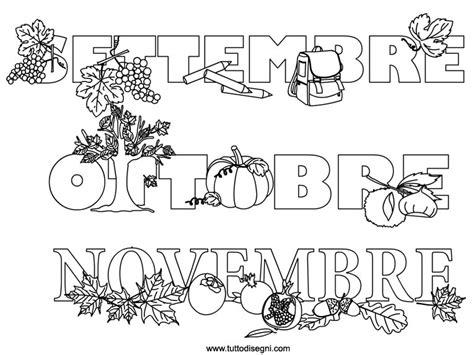 mesi da colorare settembre ottobre novembre