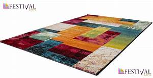 Tapis Moins Cher : tapis multicolore patchwork vigo pas cher ~ Teatrodelosmanantiales.com Idées de Décoration