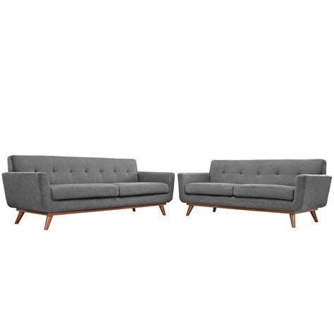 gray sofa and loveseat set modway engage loveseat and sofa set of 2 in gray beyond