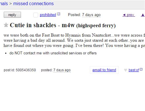 Cape Cod Craigslist Ad Of The Day  Cutie In Shackles