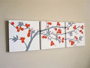 canvas wall art set 3 piece triptych abstract orange and With kitchen colors with white cabinets with cherry blossom wall art set 3