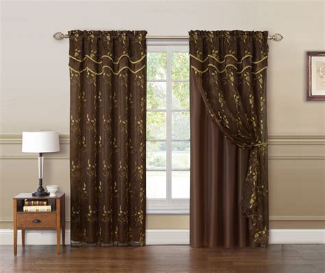 chocolate brown  gold double layer embroidered window