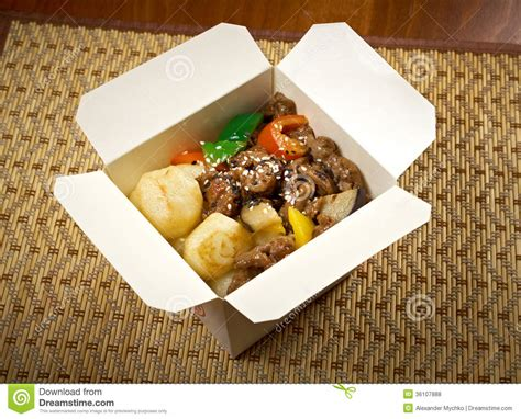 box cuisine take out food beef slice and potato royalty free stock