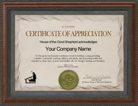 Sponsor Appreciation Certificate Sample