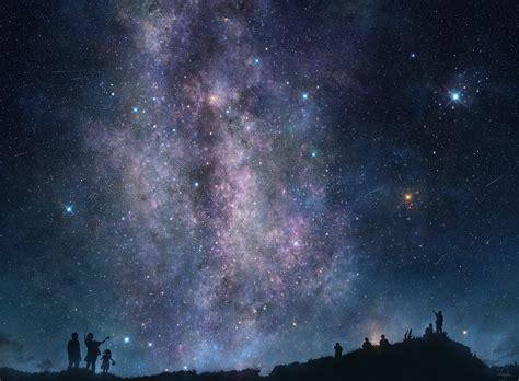 People Sky Stars Milky Way Galaxy Night