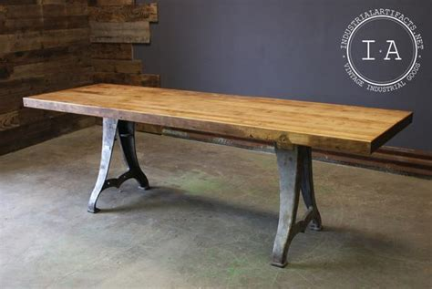 vintage industrial butcher block dining table  antique
