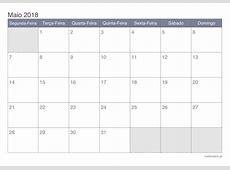 Calendário maio 2018 para imprimir iCalendáriopt