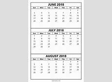 Calendar June July August 2018 fcbihor