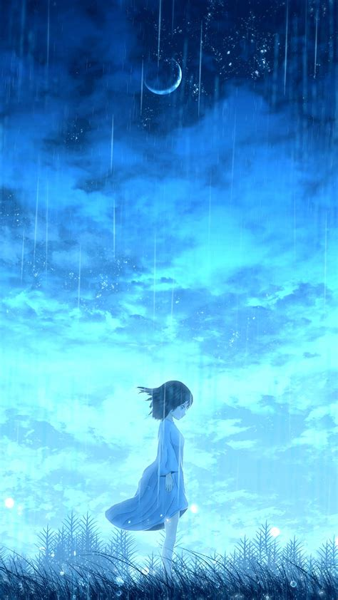 anime lonely night girl  ultra hd mobile wallpaper