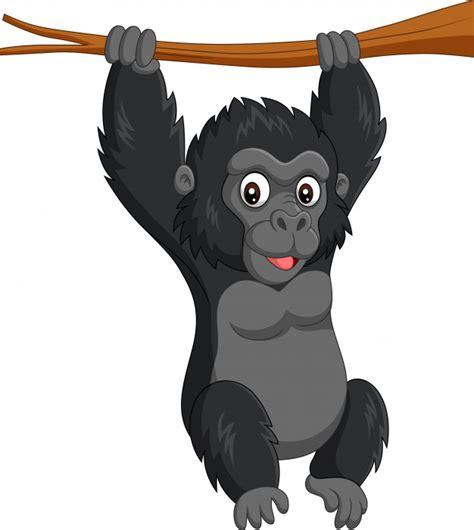 Gorila de bebê dos desenhos animados pendurado no galho de