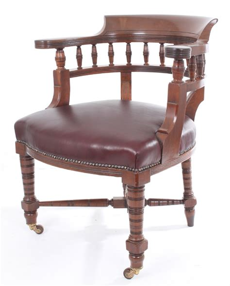 antique mahogany leather desk chair 236491