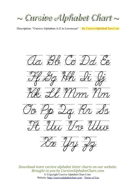 Uppercase & Lowercase Cursive Alphabet Charts With Arrows In Pdf … Pinteres…