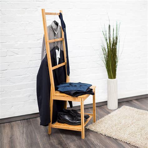 stummer diener holz relaxdays 10019172 kleiderstuhl aus bambus als herrendiener mit 2 ablagen hbt 133 x 40 x 42 cm